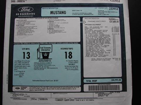 2000 Ford Mustang Cobra R vehicle description