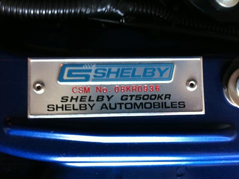 2008 Shelby GT500 KR CSM number