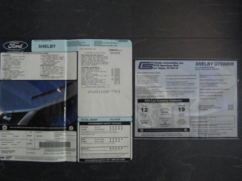 2008 Shelby GT500 KR paperwork