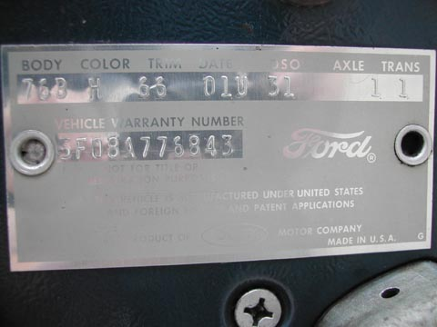 1965 Ford Mustang Convertible vehicle warranty number