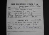 1965 Ford Mustang Convertible warranty number