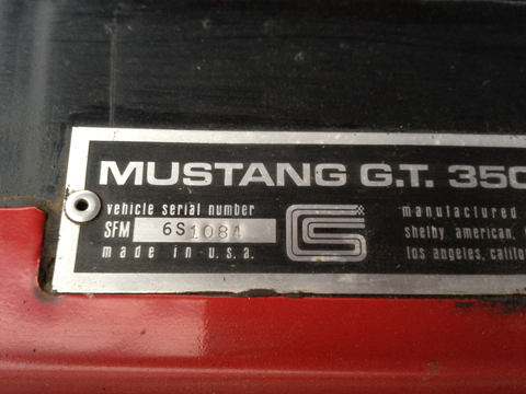 1966 Shelby GT350 vehicle serial number