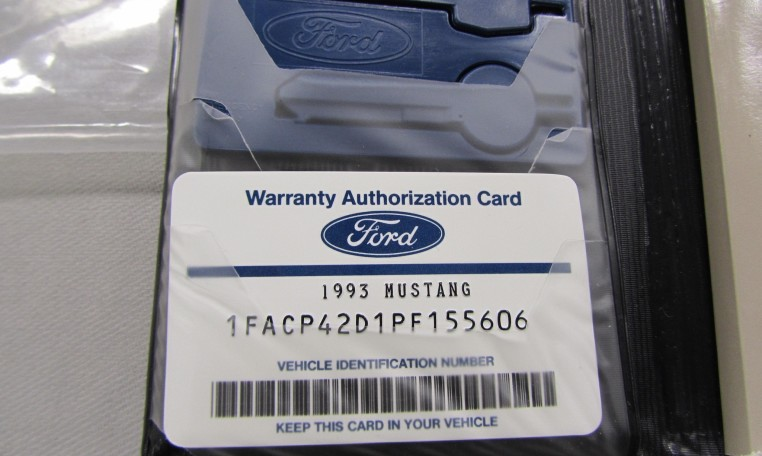 1993 Ford Mustang SVT Cobra warranty authorization card