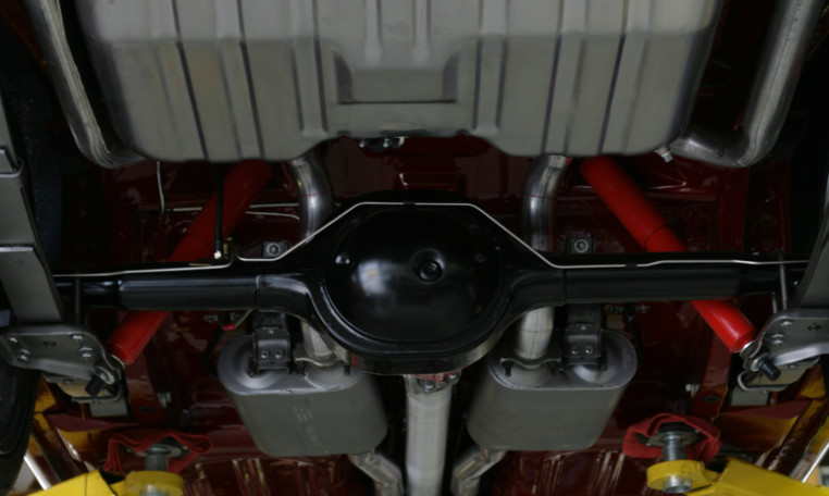 1966 Ford Mustang underneath the car